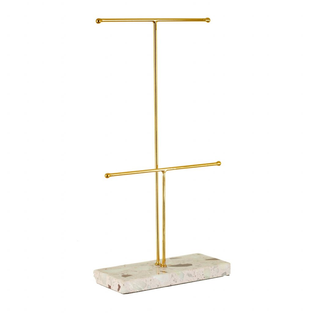 WIR312 A Double Terrazzo Gold Jewellery Stand