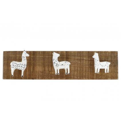 Dřevěný věšák s bílou lamou Lama