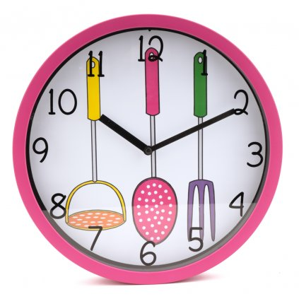 1152 ruzove nastenne hodiny do kuchyne