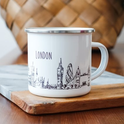 Bílý smaltovaný plecháček památkami Londýna a nápisem London 360ml
