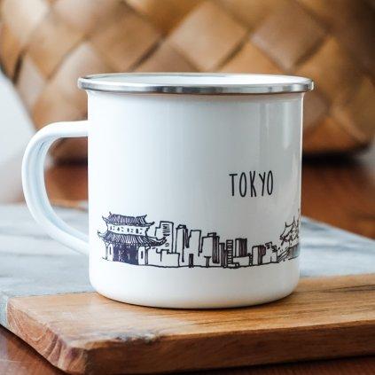 Bílý smaltovaný plecháček památkami Tokya a nápisem Tokyo 360ml