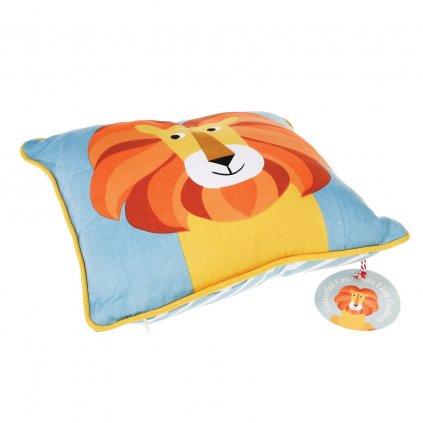 Dětský modrý polštář se lvem Charlie the Lion