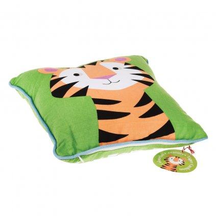 Dětský zelený polštář s tygrem
