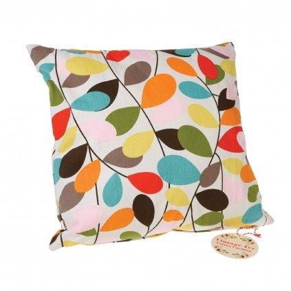 Dekorativní bavlněný polštář se vzorem barevných listů břečťanu