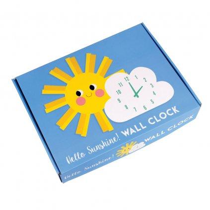 Dětské nástěnné hodiny ve tvaru slunce a mraku Hello Sunshine