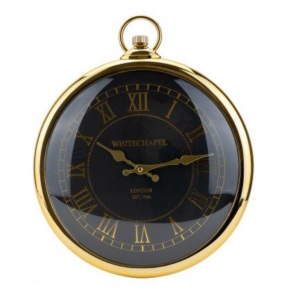 1626 velke nastenne hodiny zlate barvy s rimskymi cislicemi a cernym pozadim