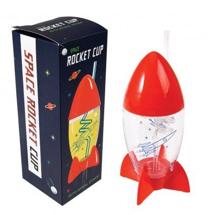 Plastová láhev na vodu ve tvaru vemírné rakety Space Age Rocket 300ml