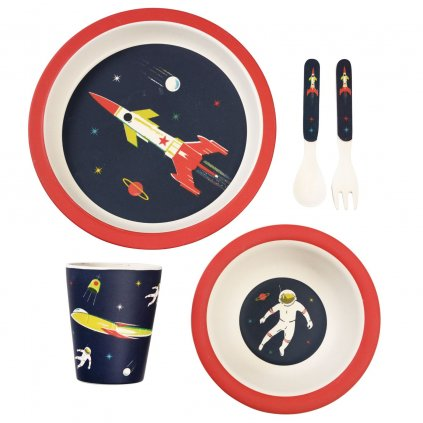 1800 4 1800 1 sada detskeho bambusoveho nadobi s motivy astronautu space age