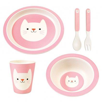 Sada dětského bambusového nádobí s motivy kočky Cookie The Cat