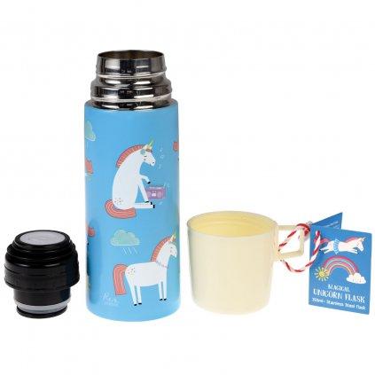 Modrá termoska s bílým hrníčkem s motivy jednorožce Magical Unicorn