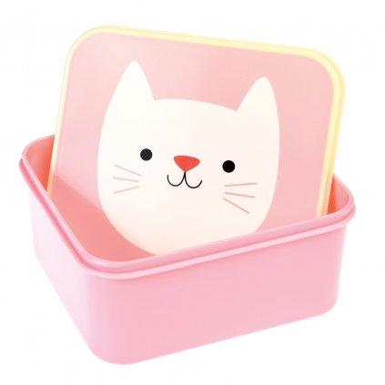 Růžový svačinový box s motivem kočky Cookie The Cat