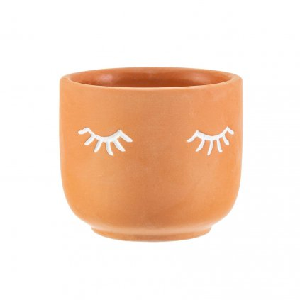 TEN019 B Mii Eyes Shut Terracotta Planter Lifestyle