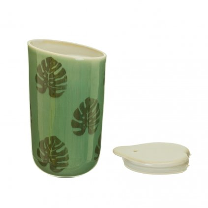 JUX004 A Cheese Plant Leaf Ceramic Travel Mug