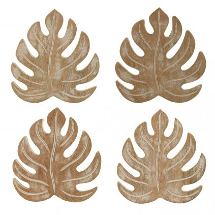 SC125 A Wooden Cheese Plant Coaster Set of 4 Set