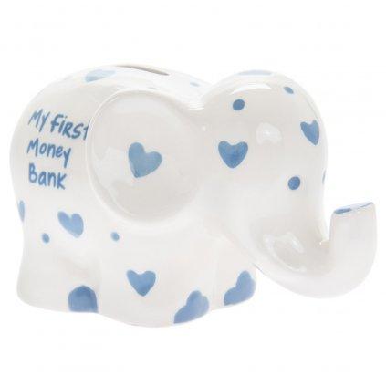 5144 keramicka moje prvni pokladnicka pro chlapce ve tvaru slona s napisem my first money bank