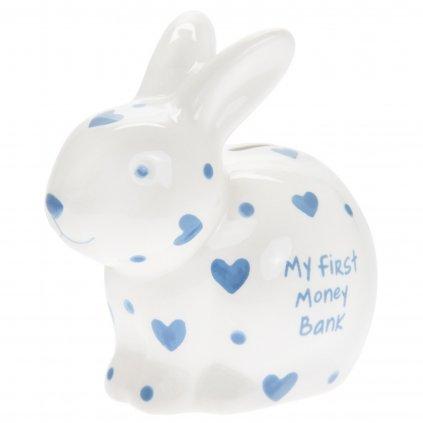 5150 keramicka moje prvni pokladnicka pro chlapce ve tvaru kralicka s napisem my first money bank