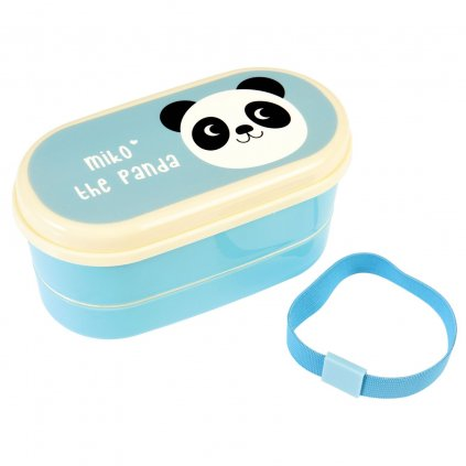 Modrý box na oběd s příborem a motivem pandy Miko The Panda