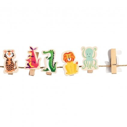 Sada 10ks barevných dřevěných kolíčků s motivy zvířátek Colourful Creatures
