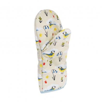 Béžová bavlněná rukavice do kuchyně s motivy ptáčků 30 cm
