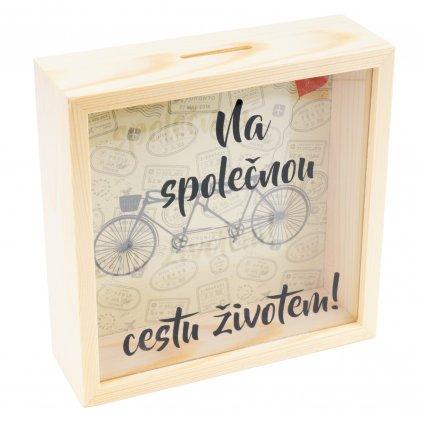 Dřevěná pokladnička Na společnou cestu životem!