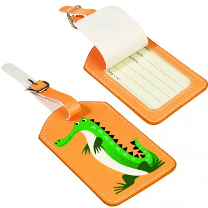 5573 3 oranzova cedulka na cestovni kufr s motivem krokodyla harry the crocodile