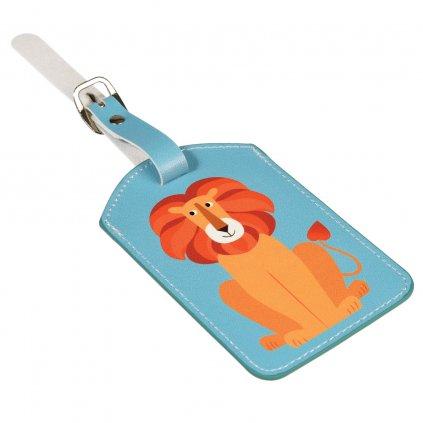5579 3 5579 1 modra cedulka na cestovni kufr s motivem tygra charlie the lion