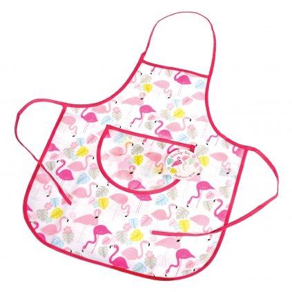 6194 1 detska ruzova kuchynska zastera s motivem plamenaku flamingo bay