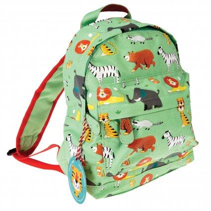 Zelený dětský batoh s motivy zvířátek ze ZOO Animal Park
