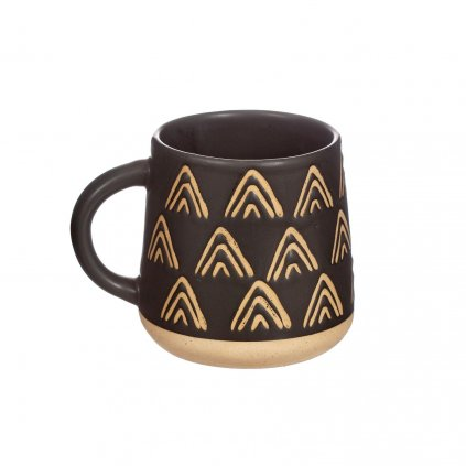 CZQ033 A Wax Resist Triangles Black Mug