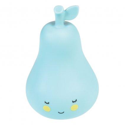 Dětské modré noční LED světýlko s vypínačem ve tvaru hrušky Pear