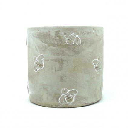 Šedý cementový květináč s motivem včeliček Busy Bees