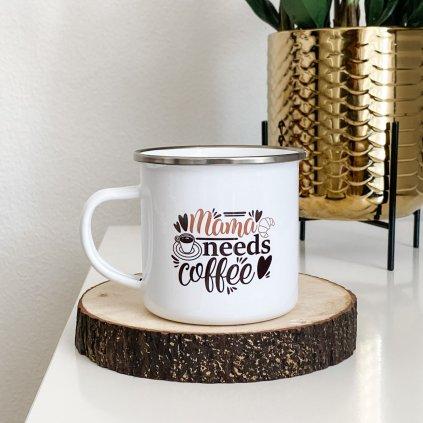 7744 bily smaltovany plechacek s napisem mama needs coffee 360ml