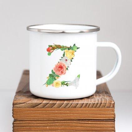 Bílý smaltovaný hrníček plecháček s písmenem z květin 360ml