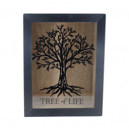 Dřevěná pokladnička se stromem a nápisem Tree Of Life