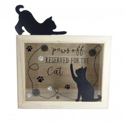 Dřevěná pokladnička s kočkami a nápisem Reserved For The Cat