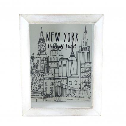 Dřevěná pokladnička s nápisem New York Fund