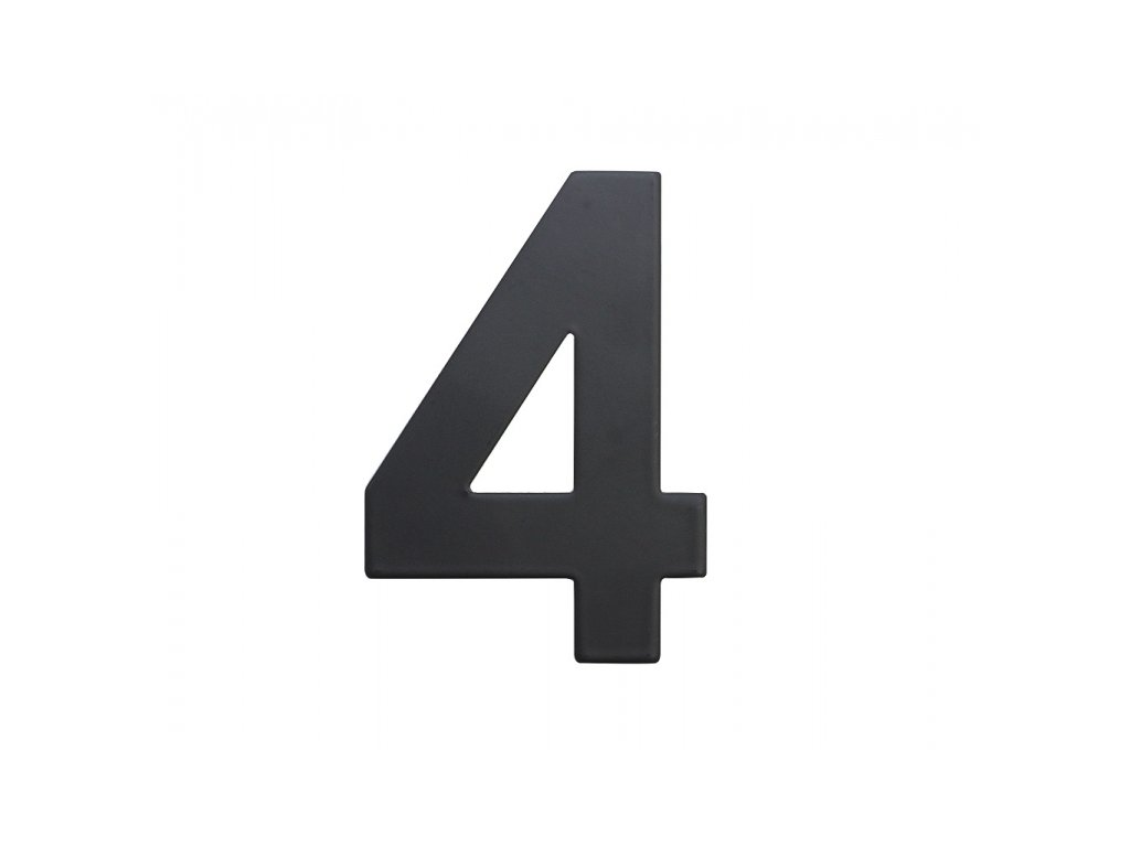 Domovní číslo - 4, ČERNÉ 2D, 75 mm - RICHTER CZECH RN.75L.4.CE