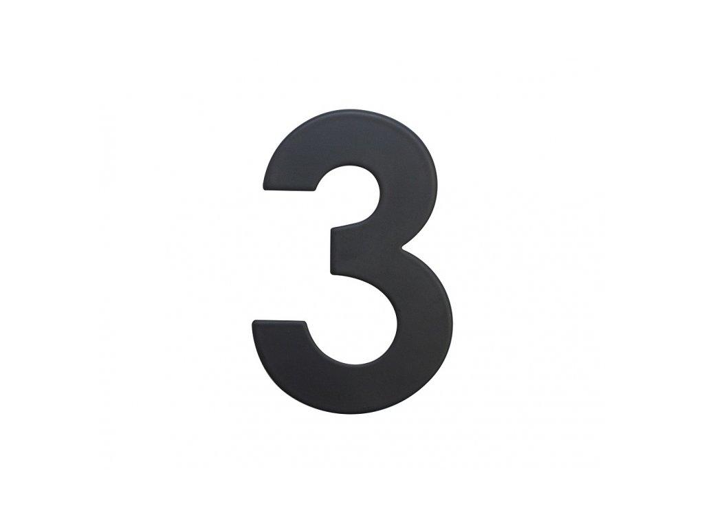 Domovní číslo - 3, ČERNÉ 2D, 75 mm - RICHTER CZECH RN.75L.3.CE