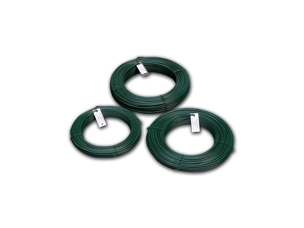 Napínací drát 4,0 PVC zelený, bal. 100 m