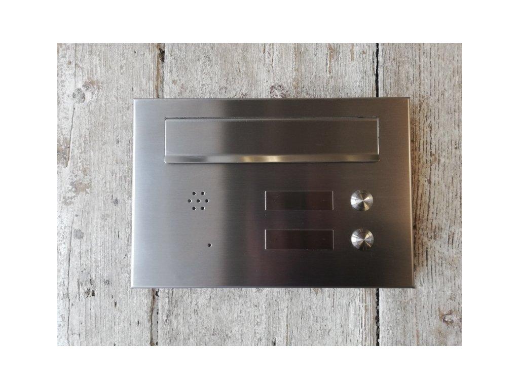 Poštovní schránka pro zazdění hl. 40 cm - NEREZ, 2 x zvonek, 2 x jmenovka, 1 x příprava pro audio
