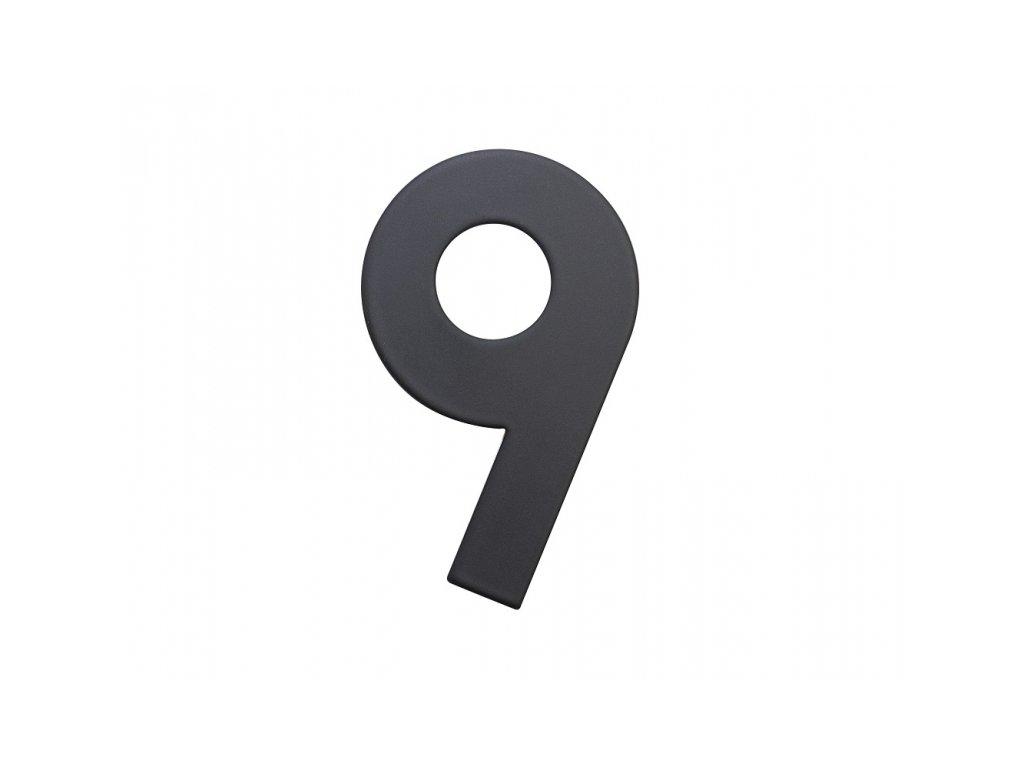 Domovní číslo - 9, ČERNÉ 2D, 75 mm - RICHTER CZECH RN.75L.9.CE