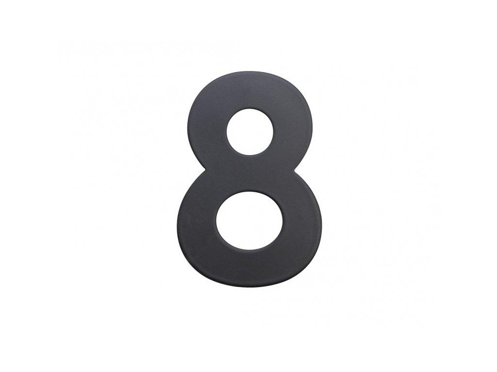 Domovní číslo - 8, ČERNÉ 2D, 75 mm - RICHTER CZECH RN.75L.8.CE