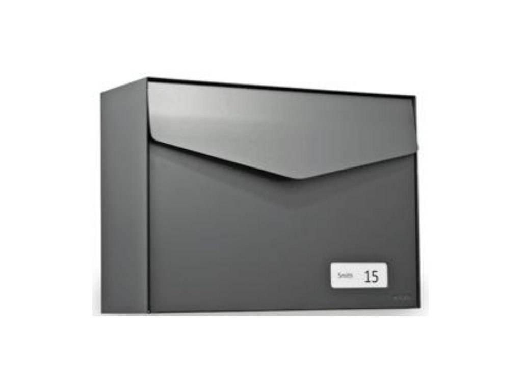 Poštovní schránka Letter se jmenovkou - čedičově šedá