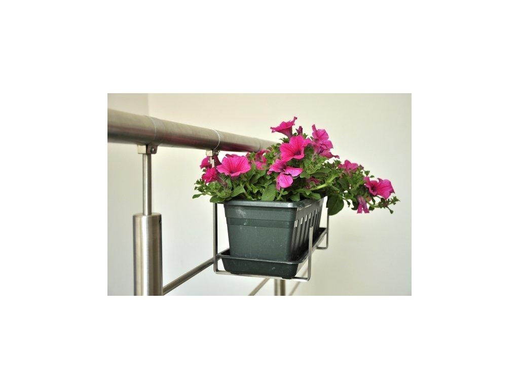 Držák květinového truhlíku na zábradlí pro madlo pr. 40 mm - nerez