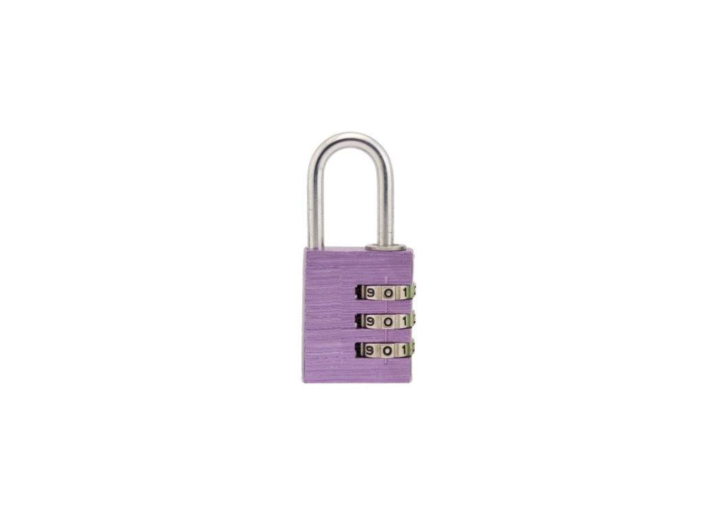 Hliníkový visací kódový zámek - fialový