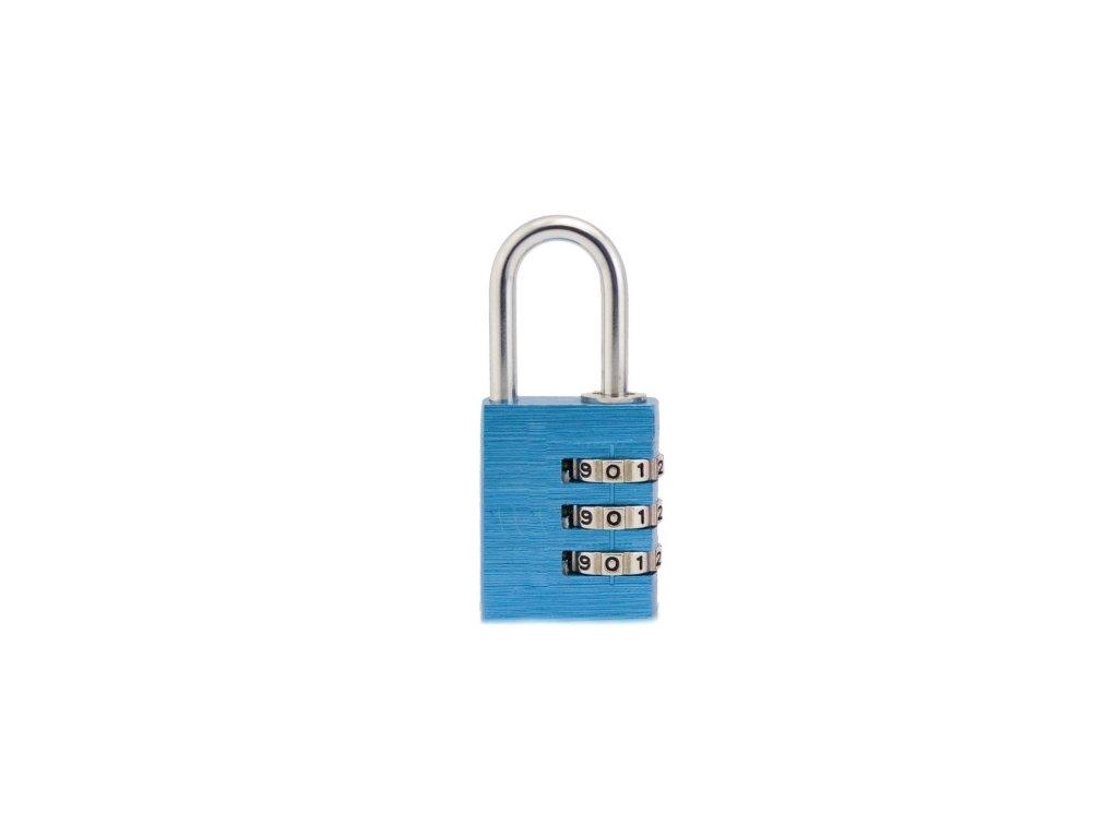 Hliníkový visací kódový zámek (malý) - modrý