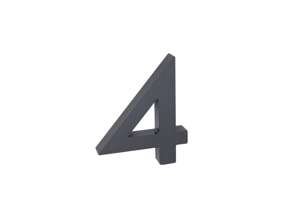 Domovní číslo - 4, ANTRACIT 3D, 100 mm