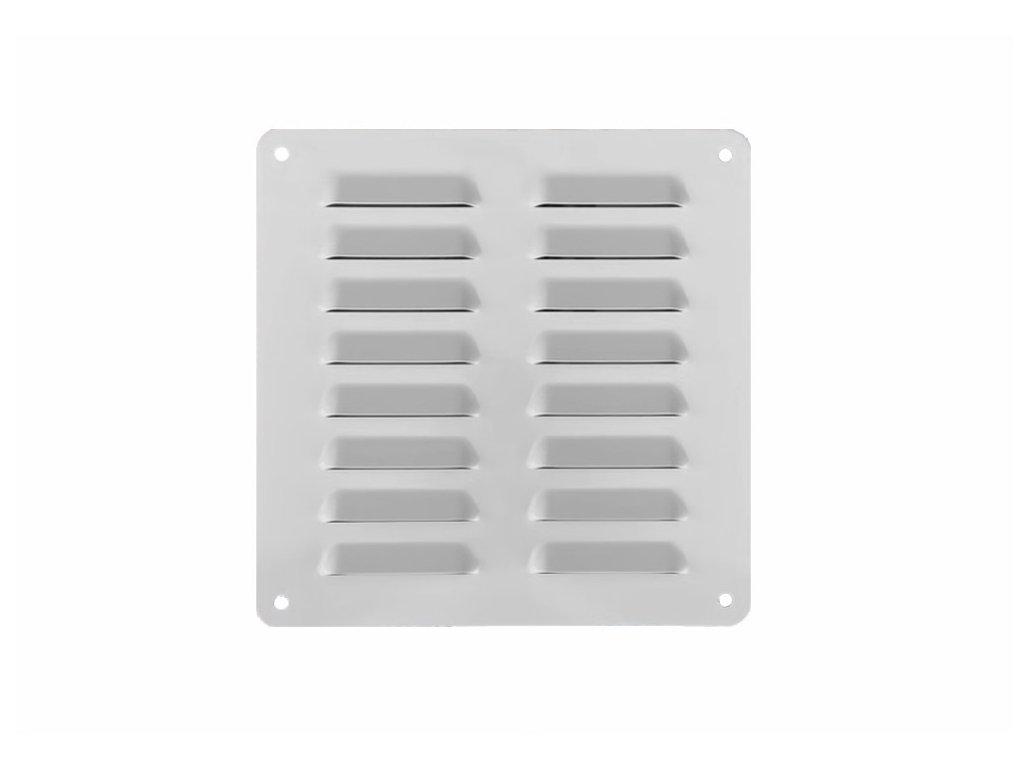DOMYS e-shop: Větrací mřížka se síťovinou hliníková BÍLÁ 19x19 cm s otvory v rozích
