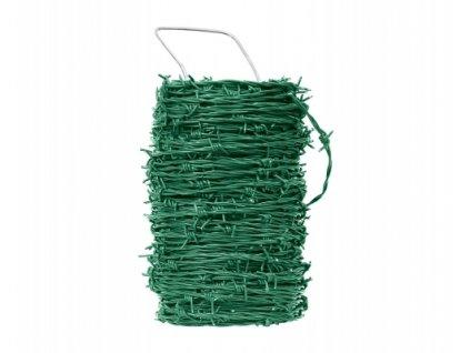 Ostnatý drát poplastovaný, zelený - 50 m