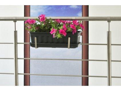 Držák květinového truhlíku na zábradlí pro madlo pr. 42,5 mm - nerez